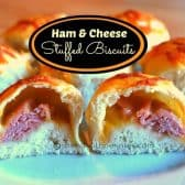 closeup of the inside of ham & cheese stuffed biscuits