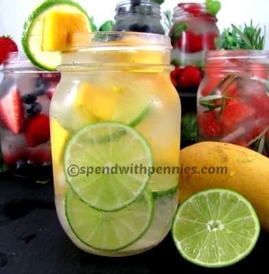 mango lime water with other flavored water in the background