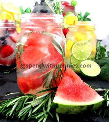 rosemary watermelon water in a jar, with other waters in the background
