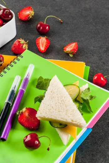 Easy and Fun Lunch Box Ideas - notebooks, sandwich and fruit