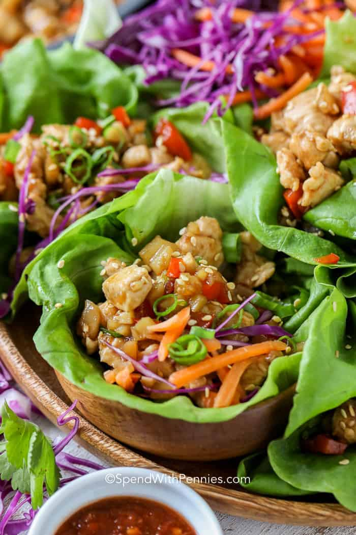 Lettuce wraps prepared on a serving platter.
