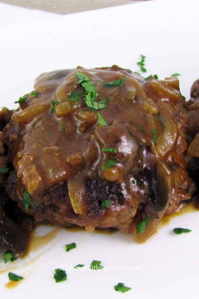 Salisbury Steak on a plate with mushroom gravy