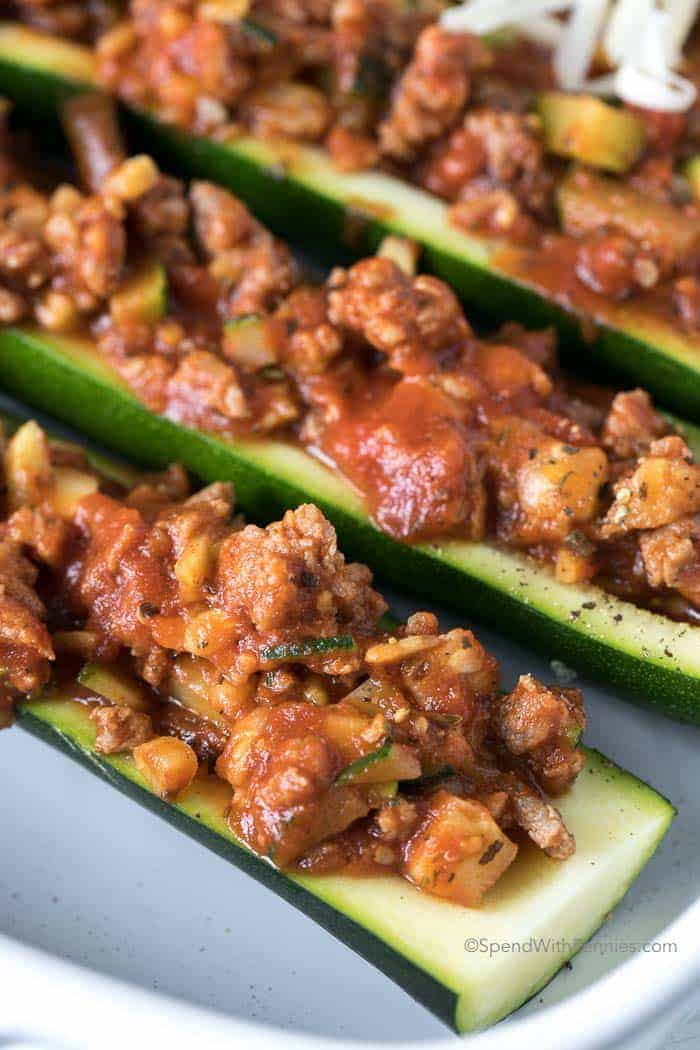 Stuffed Zucchini Boats during meal preparation