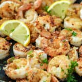 Lemon Pepper Shrimp in a pan
