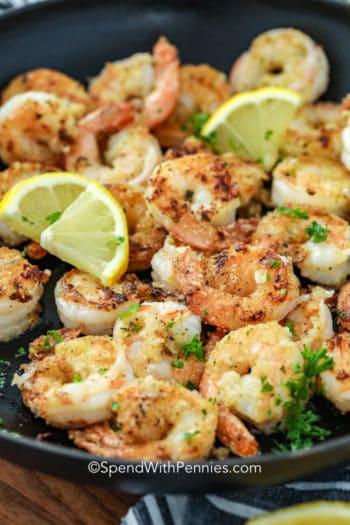 Lemon Pepper Shrimp in a pan