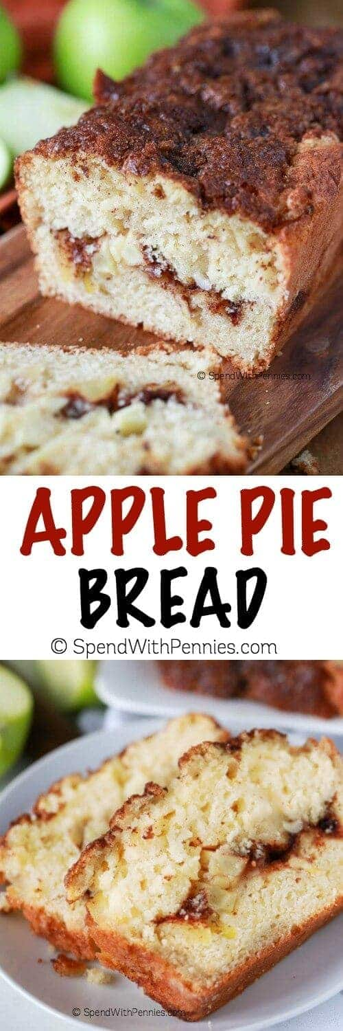 Warm Apple Pie Bread starts with a soft buttery base and loads of fresh apples mixed within and layered throughout with a cinnamon ribbon.  It's all topped off with a sweet and crunchy cinnamon topping for the perfect apple pie inspired slice.