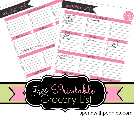 FREE Printable Grocery List! (And why you should shop with a list ...