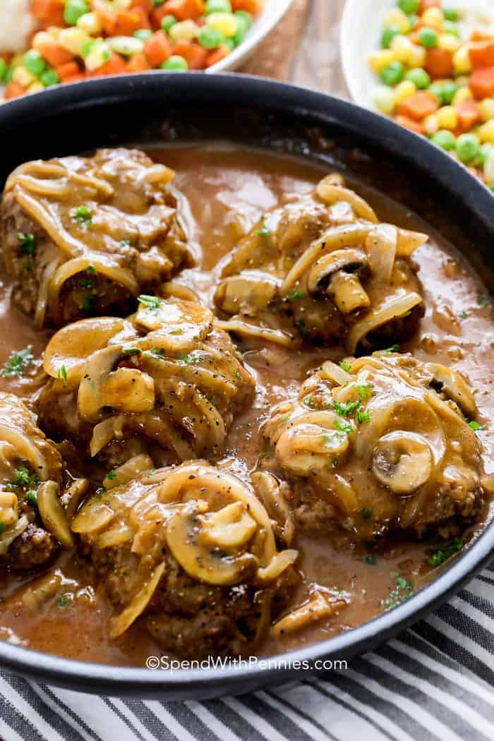 Salisbury Steak on plate with mushroom salisbury steak gravy