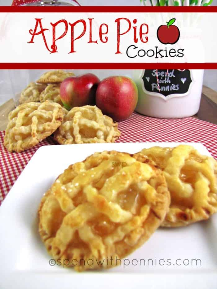 Apple Pie Cookies on a white plate with more cookies and apples in the background