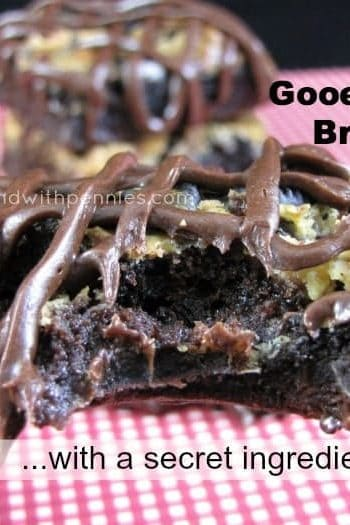 chewy brownie with chocolate frosting drizzled on top