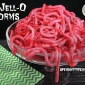 a bowl of jello worms for halloween