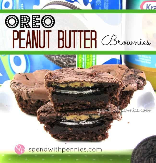 oreo peanut butter brownies with peanut butter and oreo packages in the background