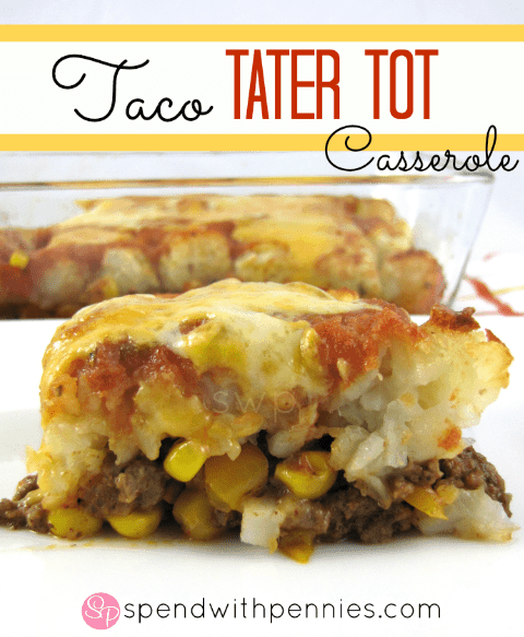 Taco Tater Tot Casserole. This was a huge hit with the whole family!  Seasoned ground beef & veggies topped with Tater Tots, salsa & cheese and baked until bubbly and hot!