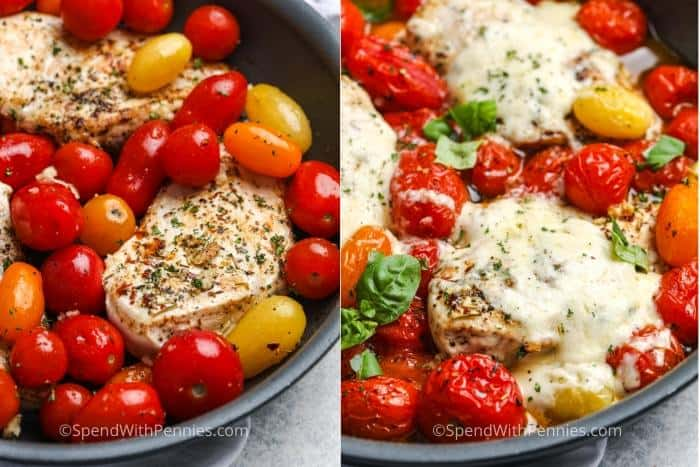 Cherry tomato chicken before and after being topped with cheese