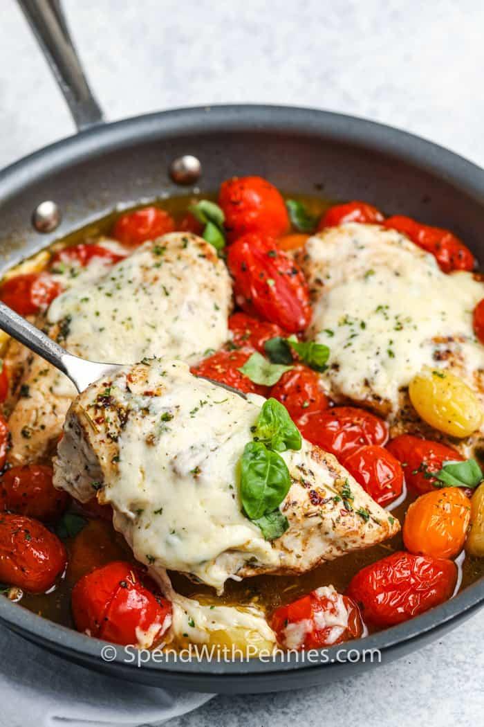 Cherry tomato chicken being served