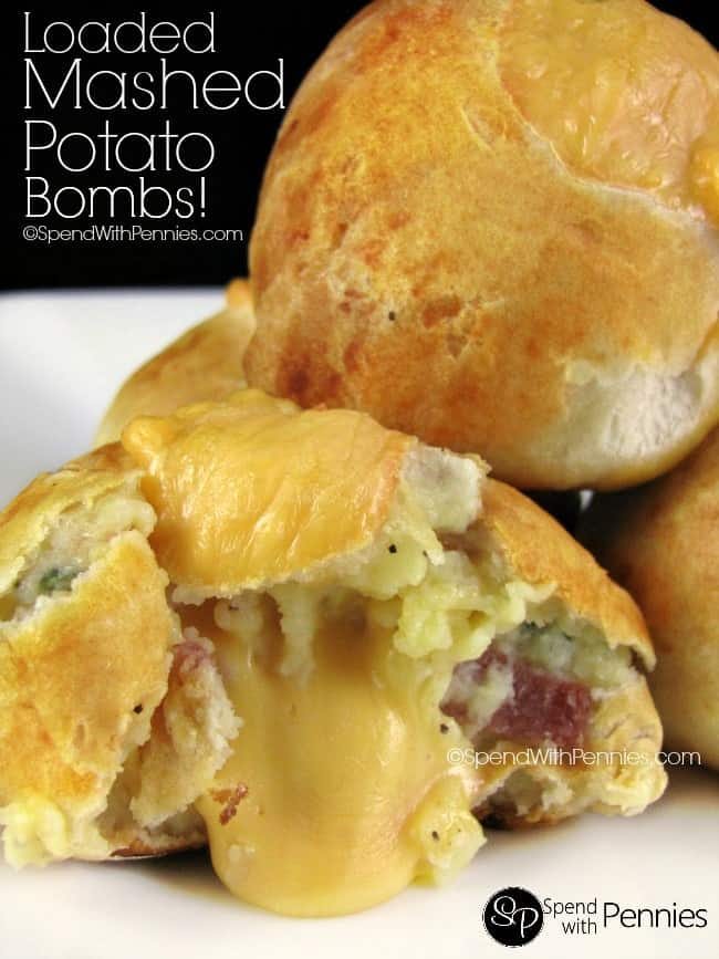 Loaded Mashed Potato Bombs! A thin crust filled with mashed potatoes, bacon and cheese. These make the perfect snack or side!