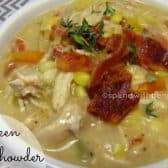 chicken corn chowder topped with bacon