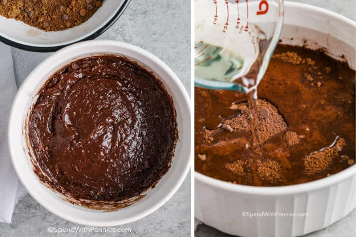 Steps for making chocolate pudding cake in a white casserole dish