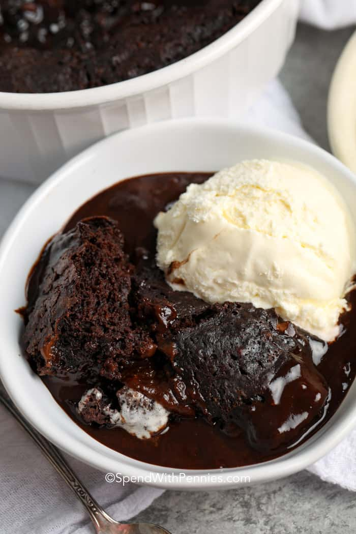chocolate pudding cake with vanilla ice cream served in a bowl