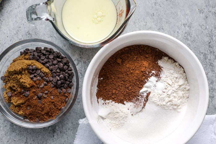 ingredients for chocolate pudding cake on a counter