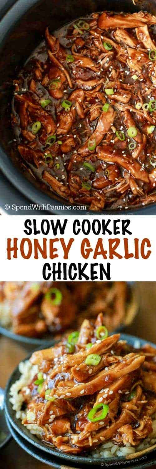 Sweet & Sticky Honey Garlic Chicken is quick to prep and loaded with flavor! Serve this easy Asian dish with rice and a side of steamed veggies for a great meal! #slowcooker #crockpot #honeygarlic #honeygarlicchicken #crockpotchicken #chickenrecipe