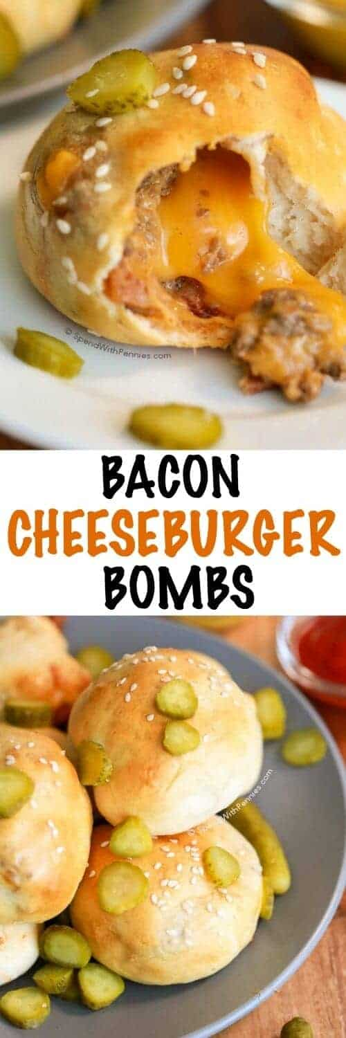 Bacon Cheeseburger Bombs! <3 A warm sesame crust filled with an amazing cheeseburger filling and loaded up with gooey cheese!