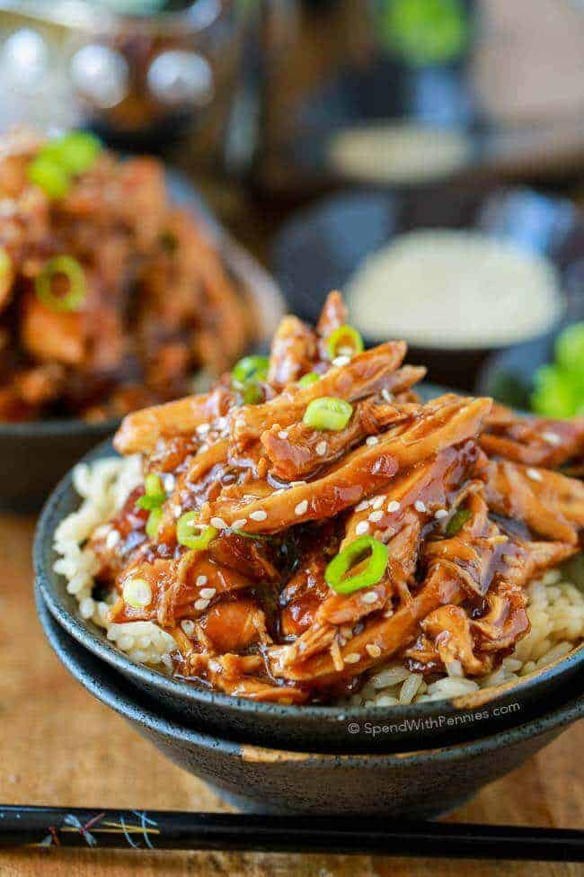 Slow Cooker Honey Garlic Chicken is a delicious and easy meal that my whole family loves! Tender chicken cooked in a sweet and sticky sauce is perfect served over rice!