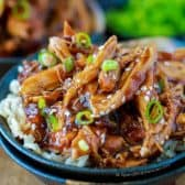 Slow Cooker Honey Garlic Chicken cooked in a sweet and sticky sauce served over rice with green onion garnish