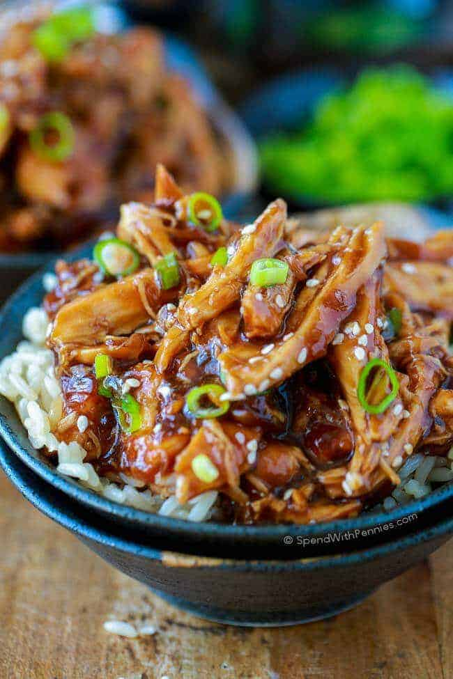 Slow Cooker Honey Garlic Chicken in a bowl