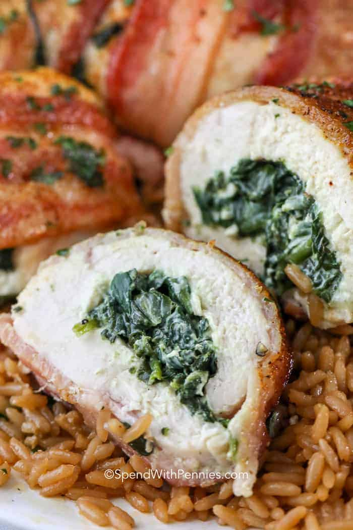 Spinach and Cheese Stuffed Chicken Breasts on rice