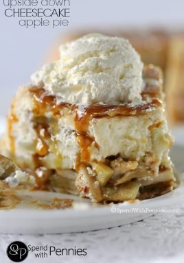 This is one of my family's favorite desserts! Upside Down Cheesecake Apple Pie! Why choose between cheesecake and apple pie when you can have it all!