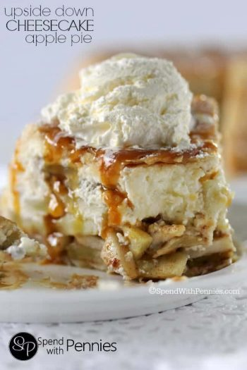 close up of. Upside Down Cheesecake Apple Pie with ice cream