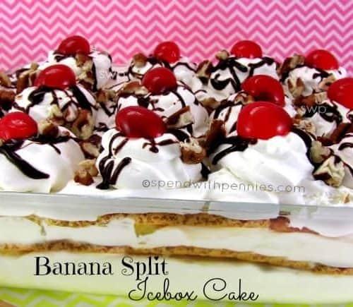 No Bake Banana Split Icebox Cake Spend With Pennies