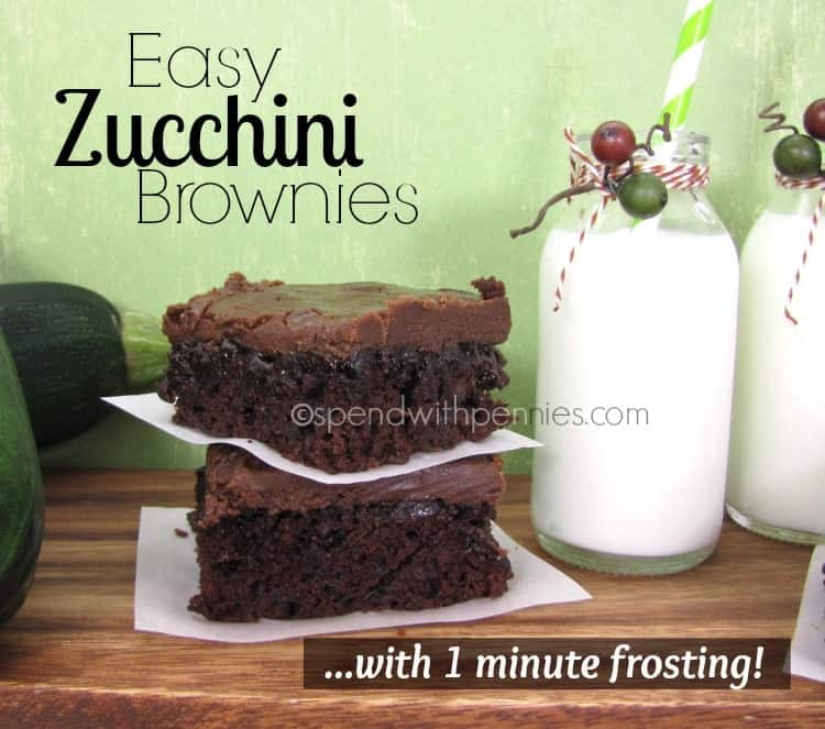 easy zucchini brownies with 1 minute frosting with bottles of milk on the side