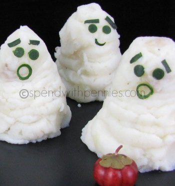 potato ghosts with green onion faces