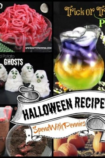 collage of halloween recipes including punch, ghosts and worms