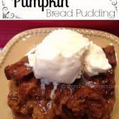 pumpkin bread pudding with ice cream