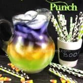 trick or treat punch, purple, orange and green punch in a pitcher with colorful straws on the side