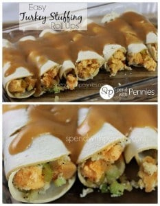 Easy turkey stuffing roll ups