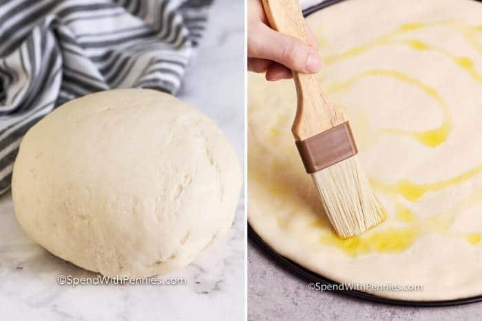 No Fail Pizza Dough in a ball and No Fail Pizza Dough on a pizza sheet