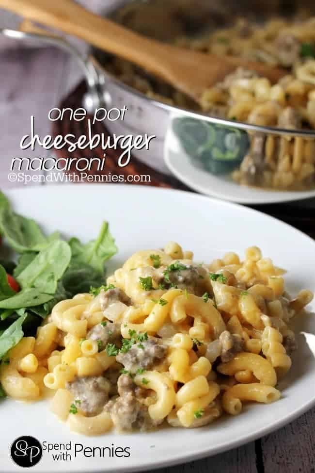 One Pot Cheeseburger Macaroni! This delicious cheesy dish is just as quick as the boxed kind but tastes so much better!
