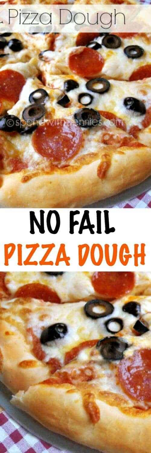Easy No Fail Pizza Dough with Homemade Sauce! This comes out perfectly every time and is delicious loaded with your favorite toppings!