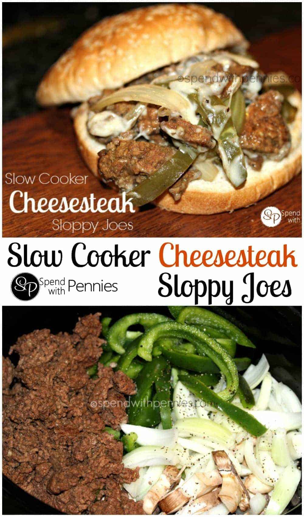Slow Cooker Philly Cheesesteak Sloppy Joes (made with ground beef ...