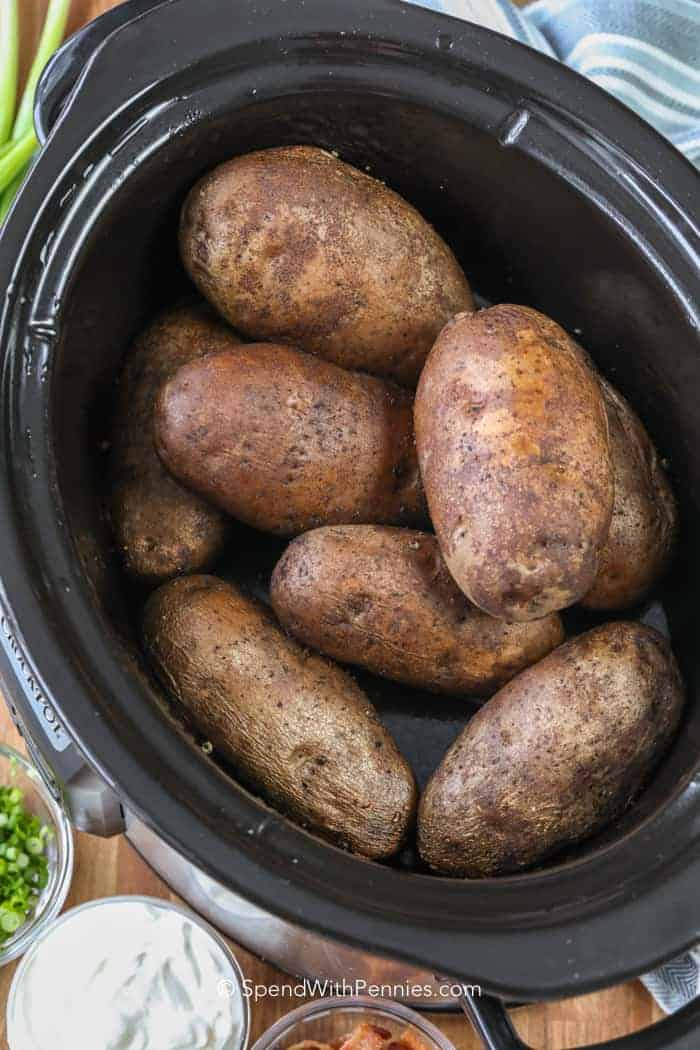 crock pot baked potatoes assembled in the crock pot