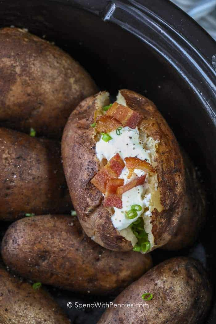 Crock Pot Baked Potatoes in pot