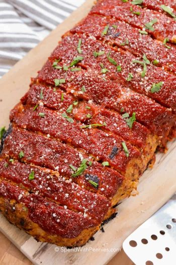 Turkey Meatloaf with herbs on top