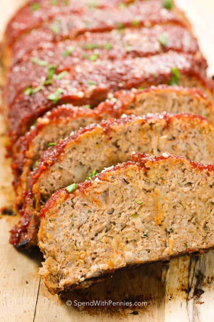 Sliced turkey meatloaf from my favorite turkey meatloaf recipe