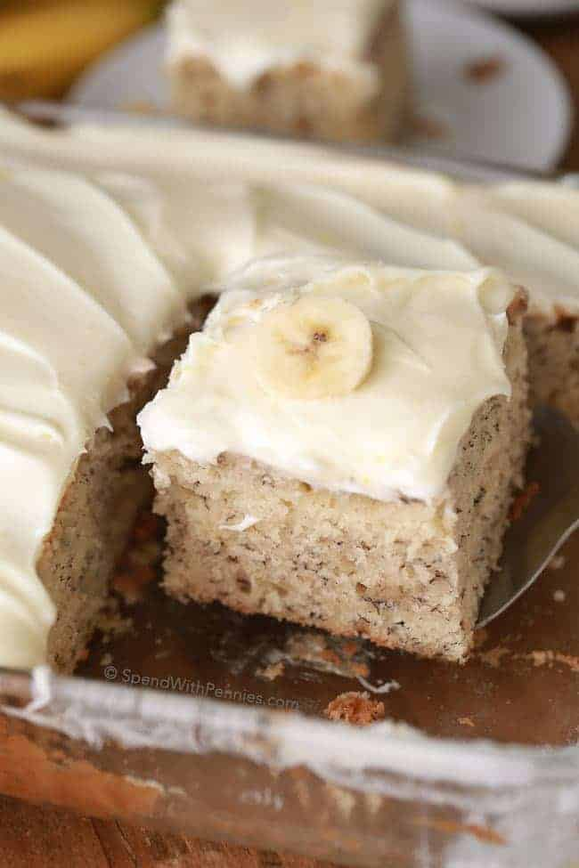 Banana Cake being served out of cake pan