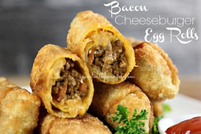 stack of bacon cheeseburger eggrolls