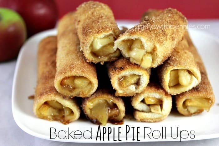 Baked Apple Pie Roll Ups take just minute to prep. Warm crispy cinnamon sugar rolls with a sweet apple pie filling will become a family favorite. Top them with ice cream and caramel for a perfect weeknight treat!